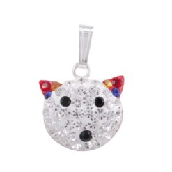 Sterling Silver 16x13mm Multi Colour Crystal Cat Pendant