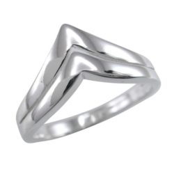 Sterling Silver 9mm Double V Shaped Ring