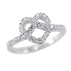 Sterling Silver 9mm White Cubic Zirconia Heart Love Knot Ring