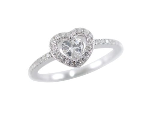 Sterling Silver 7mm White Cubic Zirconia Heart Ring