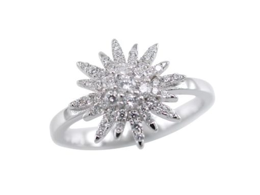 Sterling Silver 12mm White Cubic Zirconia Snowflake Ring