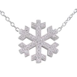 Sterling Silver 16mm White Cubic Zirconia Snowflake Necklet 43cm