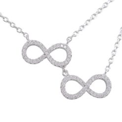 Sterling Silver 16x8mm White Cubic Zirconia Double Infinity Necklet 40-43cm