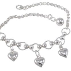 Sterling Silver 8mm Hearts On Circle & Belcher Braclet With Harmony Ball 20cm