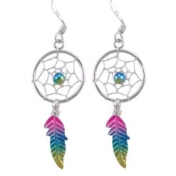 Sterling Silver 31x14mm Pink, Blue & Yellow Anodised Single Feather Dream Catcher Drop Earrings