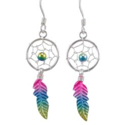 Sterling Silver 28x12mm Pink, Blue & Yellow Anodised Single Feather Dream Catcher Drop Earrings