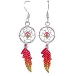 Sterling Silver 26x10mm Orange & Yellow Anodised Single Feather Dream Catcher Drop Earrings