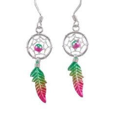 Sterling Silver 26x10mm Green, Yellow & Pink Anodised Single Feather Dream Catcher Drop Earrings