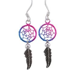 Sterling Silver 26x10mm Blue & Purple Anodised Single Feather Dream Catcher Drop Earrings