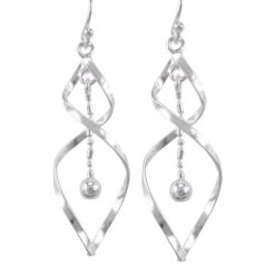 Sterling Silver 40x14mm Twist & Dangling Ball Drop Earrings