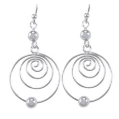 Sterling Silver 28x19mm Round Spiral & Ball Drop Earrings