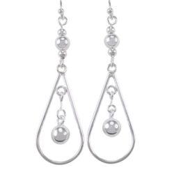 Sterling Silver 50x16mm Teardop & Dangling Ball Drop Earrings