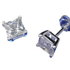 Sterling Silver 5mm Square White Cubic Zirconia Stud Earrings