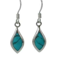 Sterling Silver 16x7mm Blue Turquoise Teardrop Drop Earrings