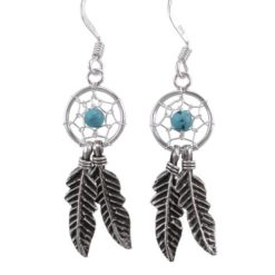 Sterling Silver 28x10mm Blue Turquoise Double Feather Dream Catcher Drop Earrings
