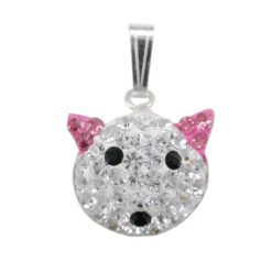 Sterling Silver 16x13mm Pink Crystal Cat Pendant