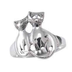 Sterling Silver 14mm Cats Ring