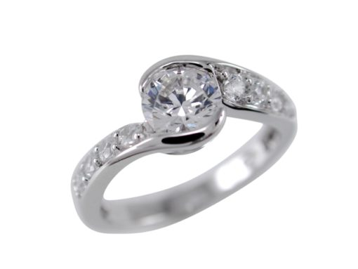 Sterling Silver 7mm White Cubic Zirconia Crossover Ring