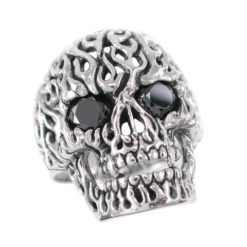 Sterling Silver 25mm Black Cubic Zirconia Skull Ring