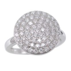 Sterling Silver 13mm Round Cubic Zirconia Ring