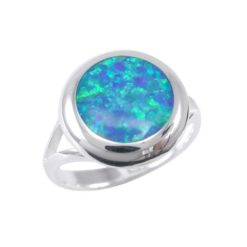 Sterling Silver 14mm Round Synthetic Opal Ring