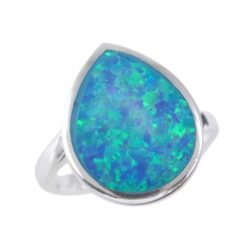 Sterling Silver 14mm Teardrop Synthetic Opal Ring