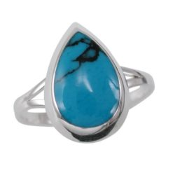 Sterling Silver 13mm Teardrop Blue Turquoise Ring