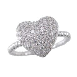 Sterling Silver 11mm White Cubic Zirconia Heart Ring
