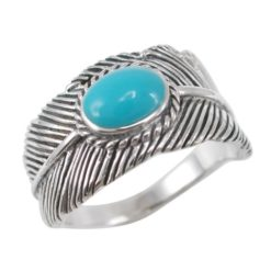 Sterling Silver 11mm Oval Blue Turquoise Feather Ring