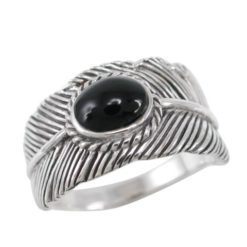 Sterling Silver 11mm Oval Black Onyx Feather Ring