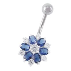Sterling Silver & Surgical Steel 12mm Blue Cubic Zirconia Flower Banana 1.6x10