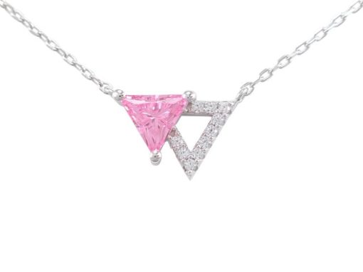 Sterling Silver 10x12mm Pink Cubic Zirconia Triangle Necklet 40-45cm