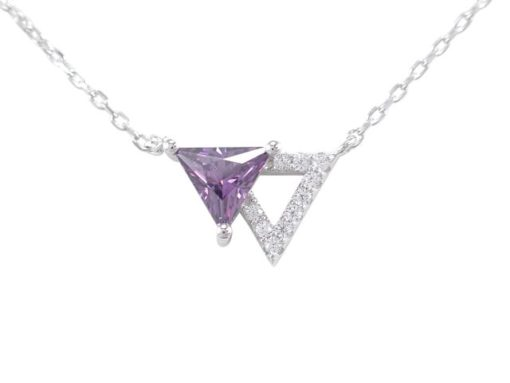 Sterling Silver 10x12mm Purple Cubic Zirconia Triangle Necklet 40-45cm