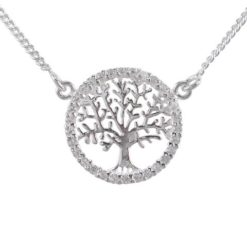 Sterling Silver 16mm White Cubic Zirconia Tree Of Life Necklet 40-45cm