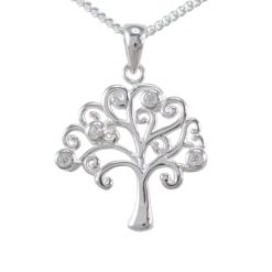 Sterling Silver 18mm White Cubic Zirconia Tree Of Life Necklet 40-45cm