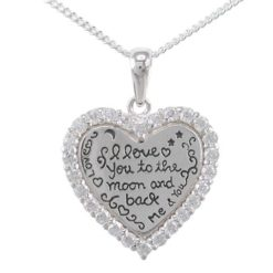 Sterling Silver 20mm White Cubic Zirconia Heart & *i Love You To The Moon And Back* Necklet 40-45cm