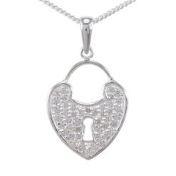 Sterling Silver 22x18mm White Cubic Zirconia Heart Padlock *key To My Heart* Necklet 40-45cm