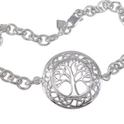 Sterling Silver 25mm Celtic Tree Of Life Oval Belcher Bracelet 20cm