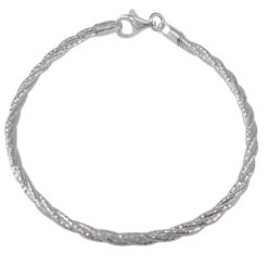 Sterling Silver 3mm Twisted Bracelet 18cm