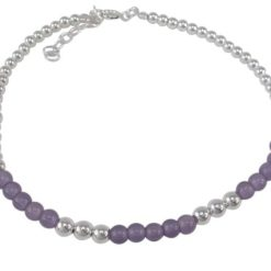 Sterling Silver 4mm Amethyst Ball Bracelet 20-22cm