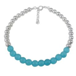 Sterling Silver 6mm Aqua Catseye Crystal Ball Bracelet 20-22cm