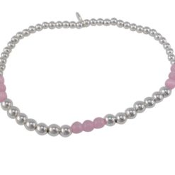 Sterling Silver 4mm Pink Catseye Crystal Ball Elastic Bracelet 19cm