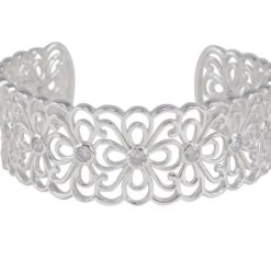 Sterling Silver 20mm White Cubic Zirconia Flower Pattern Cuff Bangle