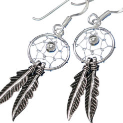 Sterling Silver 30x12mm Double Feather Dream Catcher Drop Earrings