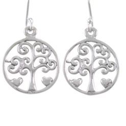 Sterling Silver 15mm Tree Of Life Drop Earrings