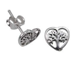 Sterling Silver 8mm Heart Tree Of Life Stud Earrings