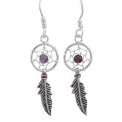 Sterling Silver 26x10mm Amethyst Single Feather Dream Catcher Drop Earrings