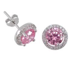Sterling Silver 9mm Pink Cubic Zirconia Cluster Stud Earrings