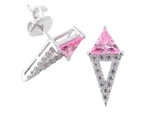Sterling Silver 15x7mm Pink Cubic Zirconia Triangle Stud Earrings