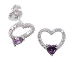 Sterling Silver 11mm Purple Cubic Zirconia Heart Stud Earrings